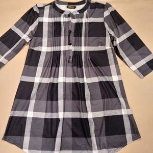 REBORN Pintuck Gray/ Black Plaid w/ButtonsTunic